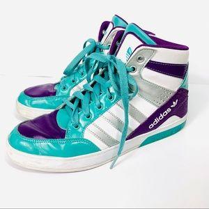 Adidas Originals High Tops White Teal Purple